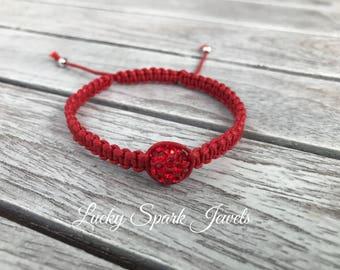 Red shamballa bracelet, red macrame bracelet, red bracelet, red cotton bracelet, 1 bead bracelet, friendship bracelet, macrame