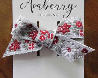 Red and Gray Embroidered Flowers Hair Bow Clip