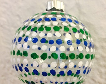 Blue and Green Hand Painted Christmas Ornament