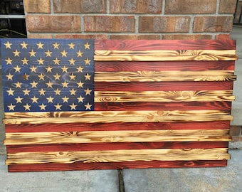 Handcrafted Stained American Flag Coin Rack (wooden)