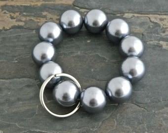 Keychain Bracelet, Beaded Keychain, Pearl Keychain, Key Wristlet, Handsfree Keychain, Bracelet for Keys, Keychain Jewelry, Fashion Keychain