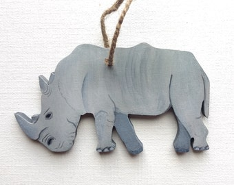 Rhino Ornament - White Rhino Ornament - White Rhino Christmas Ornament - White Rhino Decor - Rhino Gift - Rhino Decor - Wildlife Ornament