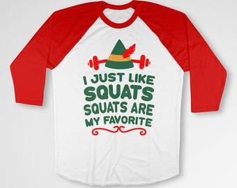 Funny Xmas Shirt Gym T Shirt Christmas Present For Him Workout Clothes Holiday Gift Ideas Elf TShirt Exercise Baseball Raglan Tee TEP-398