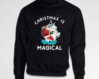 Funny Holiday Sweater Christmas Humor Unicorn Clothing Xmas Gifts Santa Claus Merry Xmas Holiday Season Crewneck Sweatshirt Hoodie TEP-394