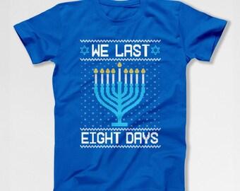 Funny Hanukkah Gifts Ugly Holiday T Shirt Chanukah TShirt Holiday Presents Hanukkah Menorah Jewish Clothes Israel Star of David TEP-581