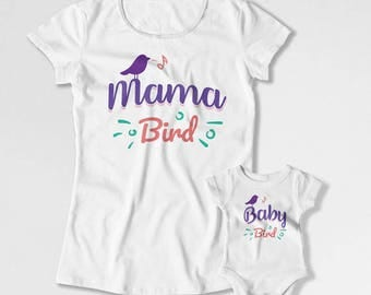 Mom And Daughter Shirt Matching Outfits Mother Son Gift Mothers Day T Shirt Mommy And Me Clothing Family Mama Bird Baby Bird TEP-228-229