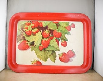 Vintage Strawberry Metal Serving Tray