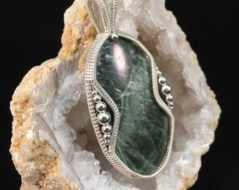 Seraphinite and Sterling Silver Wrapped Pendant