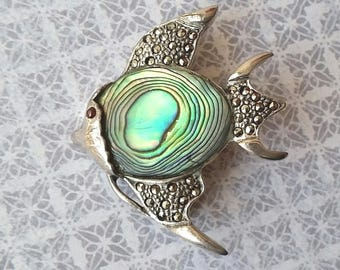 Rare Vintage Sterling Silver Marcasite & Paua Shell Angel Fish Brooch