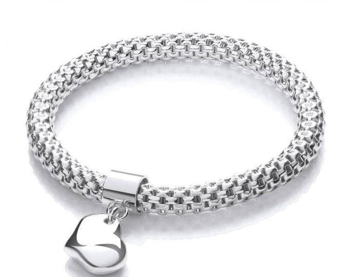 Ladies 925 Sterling Silver Mesh Link Bracelet With Heart Charm Hallmarked