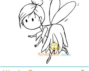 Fairy flying digital stamp (black and white only). Cute fairy digital stamp. Fairies. Fairy clipart. Kinda Cute.