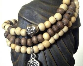 Set of 3 wood Hamsa Stackable Stretch Bracelets