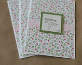 Pink & Green Floral Greeting Cards