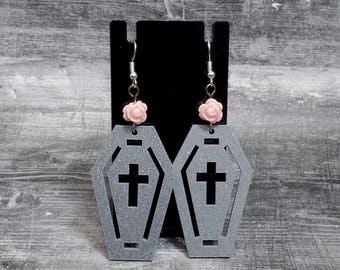 Pink Rose Coffin Earrings - Gray Glitter Coffin Cross Earrings - Cross Earrings - Flower Cross Coffin - Free US Shipping