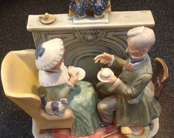 "Norman Rockwell's First Edition Winter ""Gaily Sharing Vintage Times"" Porcelain Figurine Gorham 1955 Collectable Americana Nostalgia"