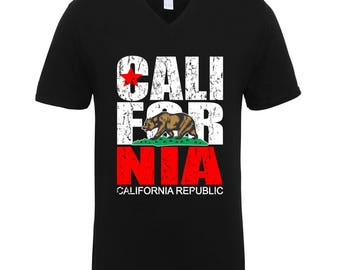 California Republic Bear Clothing Adult Unisex Men Size V Neck Tee Shirts for Men and Women