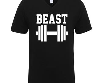 Beast Black and White Work Out Fitness Gym Adult Unisex Men Size V Neck Tee Shirts for Men and Women