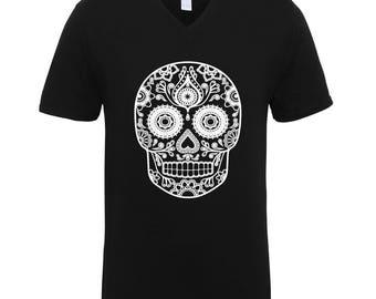 Skull Head Designed Adult Unisex T-Shirts Men Size V Neck Tee Shirts for Men and Women