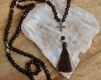 Smoky Quartz Mala - Grade A - Prayer Necklace - 108 bead