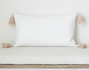 White with blush Tassel Throw Pillow Cover