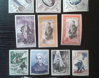 Stamps Monaco 1951 - 56 Different 15 Pc Mint Never Hinged