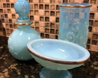 Vintage Avon Translucent Glass Bristol Blue Cologne Bottle, Cup and Soap dish