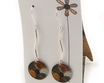 Sterling Silver Earrings - Long Lichen Artwork