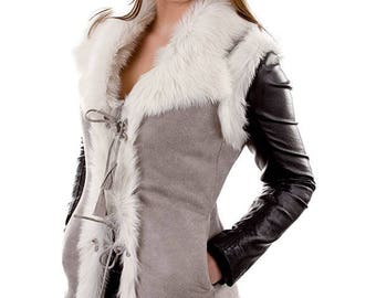 New SHEEPSKIN vest Woman's leather jacket warm gray cozy winter veat with sheep wool fur gift for women real genuine leather wool gray vest