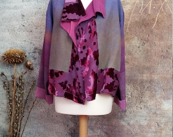 Hand made silk linen velvet jacket,kimono style,bespoke hand painted garment,devore velvet,ombre colours,haori,wearable art.