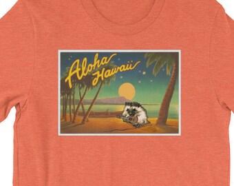 Ukulele Playing Hedgehog - Funny Hedgehog Shirt - Aloha Hedgehog Playing Uke - Hedgehog Ukulele T-Shirt - Cute Men's or Women's T-Shirt - He