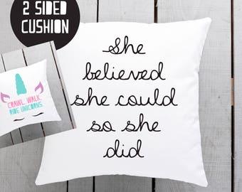 she believed pillow, girl boss decor, motivational pillow, inspiring cushion
