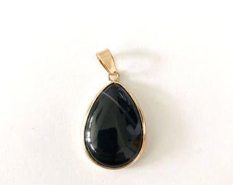 1 Pc, Black Onyx Gem Stone Pendant,  Rose Gold Plated,  18x25 mm,