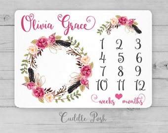 BOHO Baby Milestone Blanket, Watercolor Floral Feathers, Newborn Photography Backdrop, Month Growth Chart, Personalized Baby Shower Gift