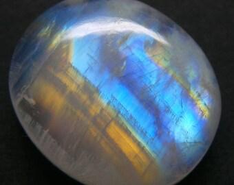 Rainbow Moonstone Oval Designer Cabochon, Size-18x15x5 MM,Blue Flash Moonstone , AAA,  Loose Gemstone, Smooth Cabochons.