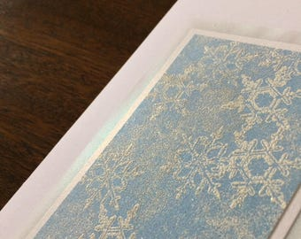 Falling snow embossed blank card, individually handmade: A7, notecards, fine cards, let it snow, winter, snow, SKU BLA710