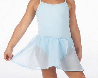 Girls Sizes 2-16 Leotard Light Blue Lined with Removable Blue Tulle Skirt - Brand New Custom Made