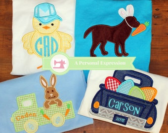 Easter Applique Boy Personalized Shirt / Easter Egg Truck / Easter Chicken / Easter Rabbit Truck / Easter Dog / Onesie / Embroidery / Kid