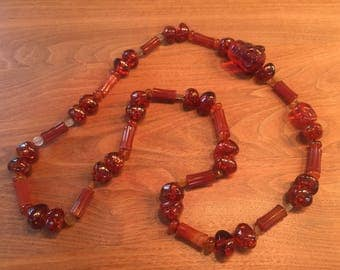 Amber and agate long necklace
