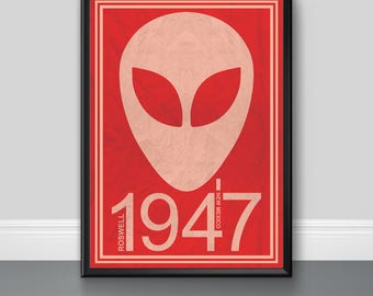 UFO Roswell 1947 - Alien, Home Decor, Wall Art, Poster, Digital Download