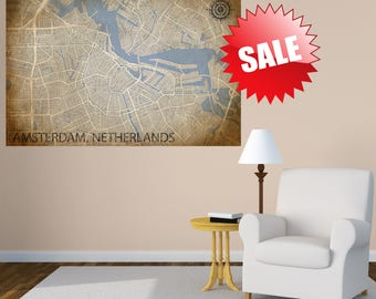 AMSTERDAM Netherlands Canvas Print, Vintage city map, Horizontal Wall Art, Vintage Panoramic poster, wall art, Housewarming gift, Retro Art