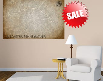 LANCASTER Pennsylvania CANVAS PA Map Lancaster Pennsylvania Poster City Map Lancaster Pennsylvania Art Print Lancaster Pennsylvania Home Art