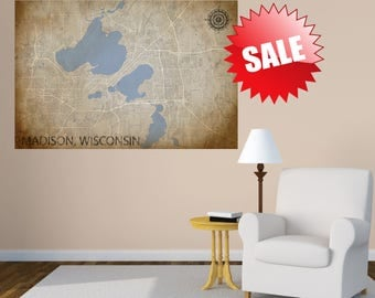 MADISON Wisconsin MAP canvas wall decor  large wall decor wall tapestry bedroom decor living room decor wall hanging office decor large art