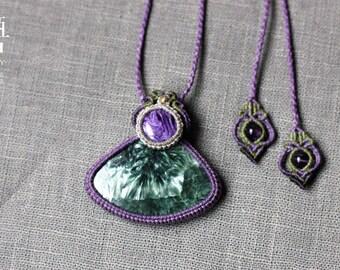Macrame pendent Seraphinite&Charoite, gemstone jewerlry