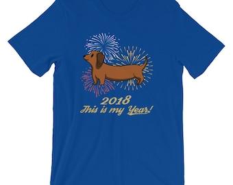 Happy 2018 T Shirt - Happy New Year TShirt - Happy 2018 Dog Shirt - Year of the Dog Dachshund T-Shirt - Dog Lover Gift - Dog Unisex T-Shirt