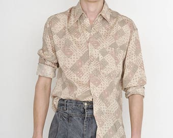 VINTAGE Beige RENOIR Checked Patterned Long Sleeve Button Downs Retro Shirt