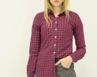 Vintage PULL AND BEAR Red Blue Checked Button Downs Retro Shirt