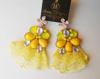 Yellow earrings Earrings with lace Statement Earrings OOAK earrings Lace earrings Yellow jewelry Unique earrings Must have Handmade