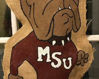 Mississippi State University burlap door hanger