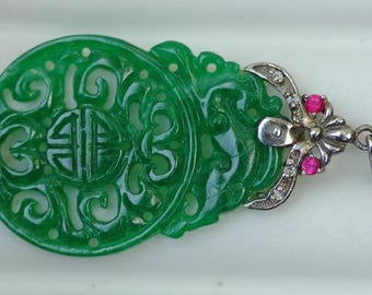 Imperial Green Jade , Diamond, Ruby 18k White Gold Pendant Hand Carved