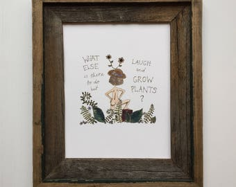 Plant Lady Art Print/Plant Lover Motivational Quote/Garden Wall Art/Crazy Plant Lady/Watercolor Quote Art/Laugh and Grow Plants